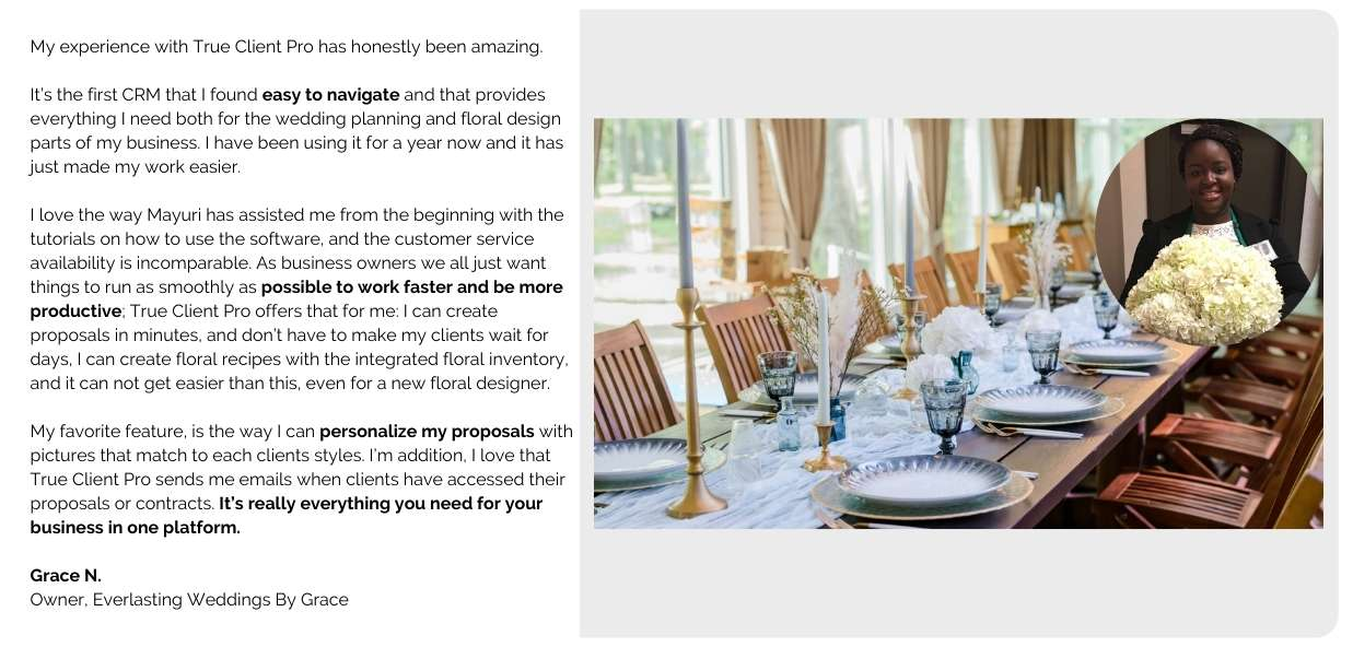 Customizable templates and proposals for wedding professionals