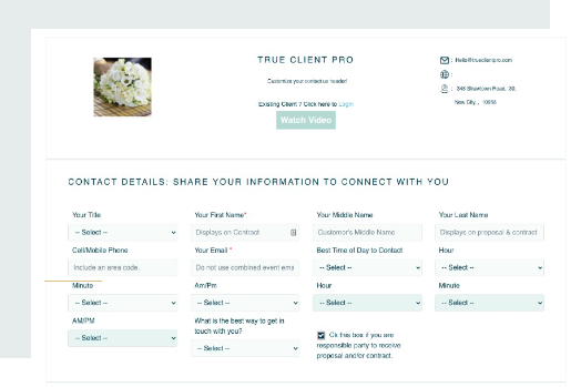 Customizable contracts for wedding professionals