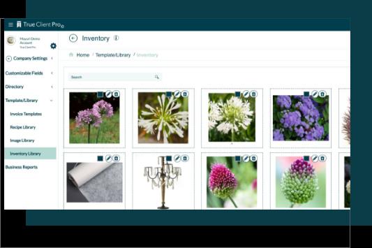 Image library for floral arrangements